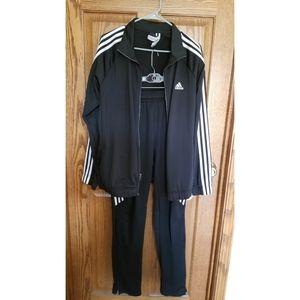 Adidas black with white stripe tracksuit